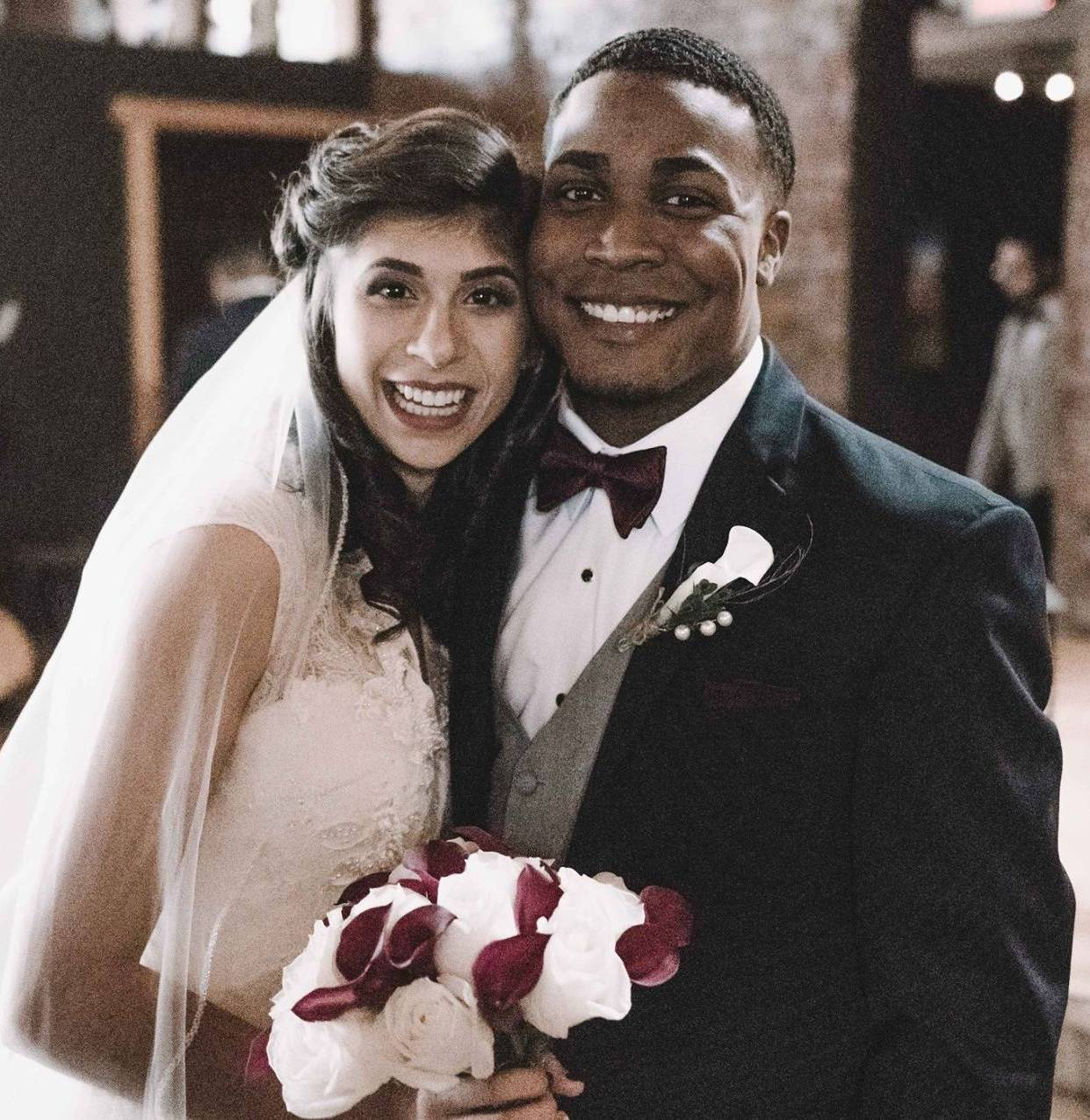 Vanessa and Jamil on their wedding day