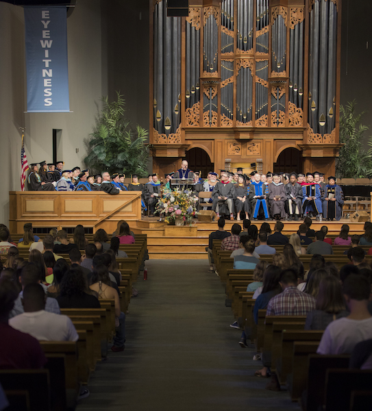stuents gather in Collegedale Seventh-Day Adventist church for the first convocation of the year